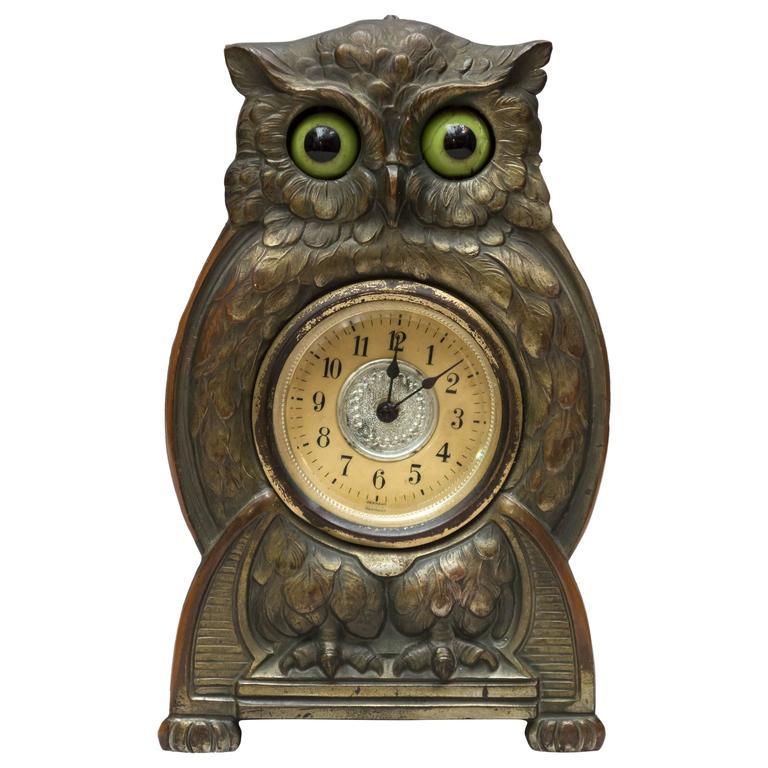 Whimsical Mechanical Owl Clock At 1stdibs