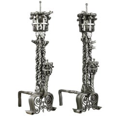 Pair of French Gothic Revival Wrought Iron Antique Andirons