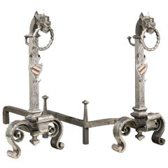 Pair of Tall English Gothic Style Wrought Iron Antique Andirons