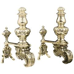 Pair of Substantial Heavily Cast Brass Antique Chenets in the Baroque Style