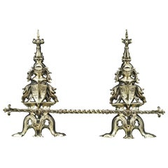 Pair of Tall 19th Century English Antique Brass Armorial Andirons