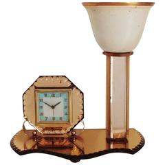 French Art Deco Copper & Peach Scalloped Edge Mirror Alarm Clock/Torchiere Combo