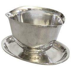 Hans Hansen Sterling Silver Sauce Boat with Attached Underplate