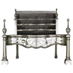 Fine Antique English George III Style Polished Steel Fire Grate, circa 1880