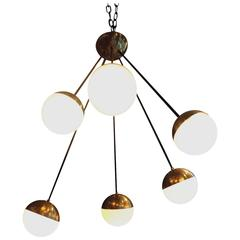 Vintage Stilnovo spider ceiling chandelier brass and opaline glass balls ca.1950