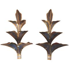 Maison Jansen, Pair of Sconces, Gold-Plated Brass and Metal, circa 1970, France