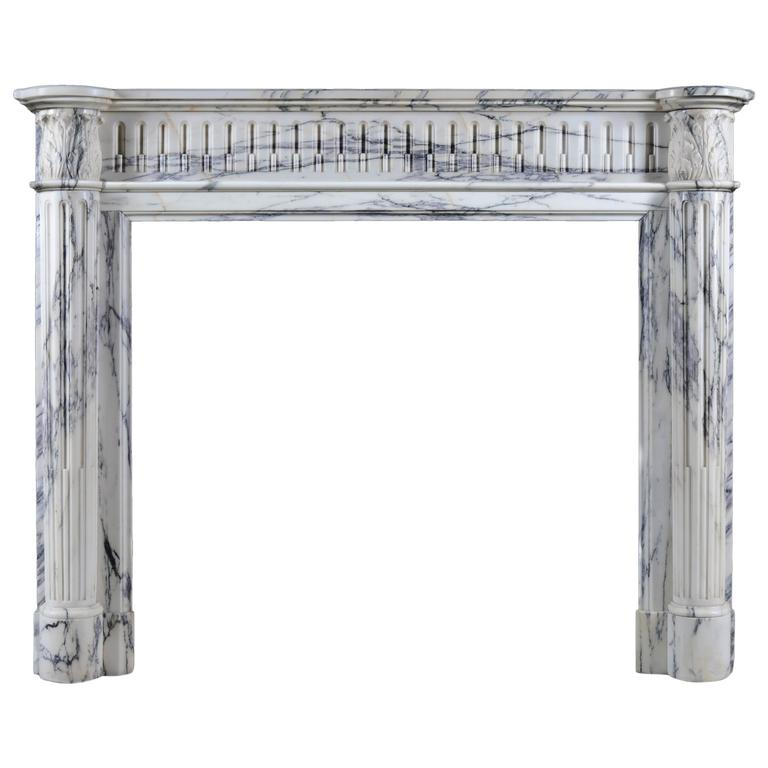 Small French Regency Antique Fireplace Mantel in Arabescato Marble For Sale