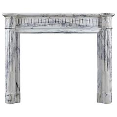 Small French Regency Antique Fireplace Mantel in Arabescato Marble