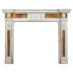 Late 18th Century Antique Fireplace Mantel in Statuary and Brocatelle Marble