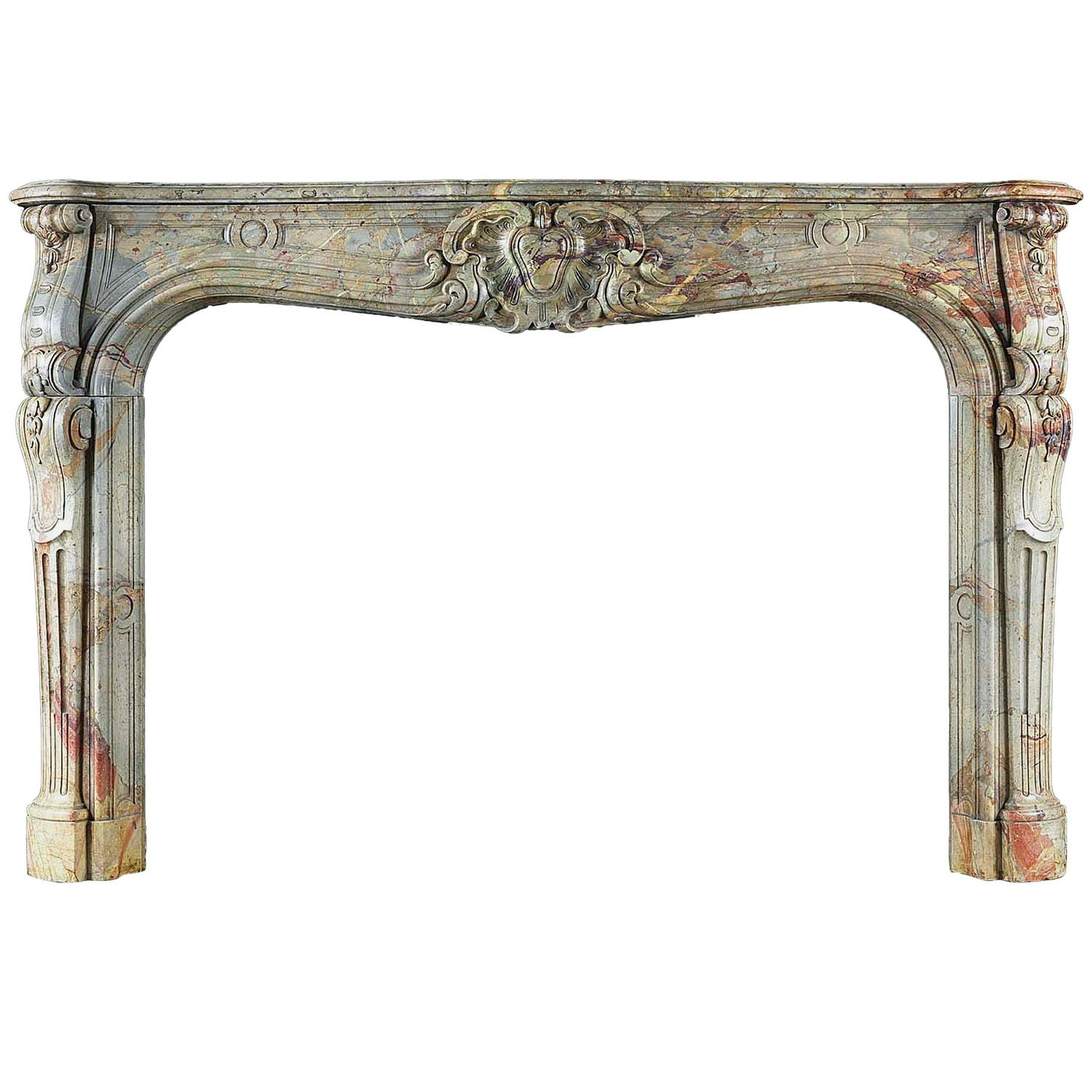large french rococo antique fireplace mantel in