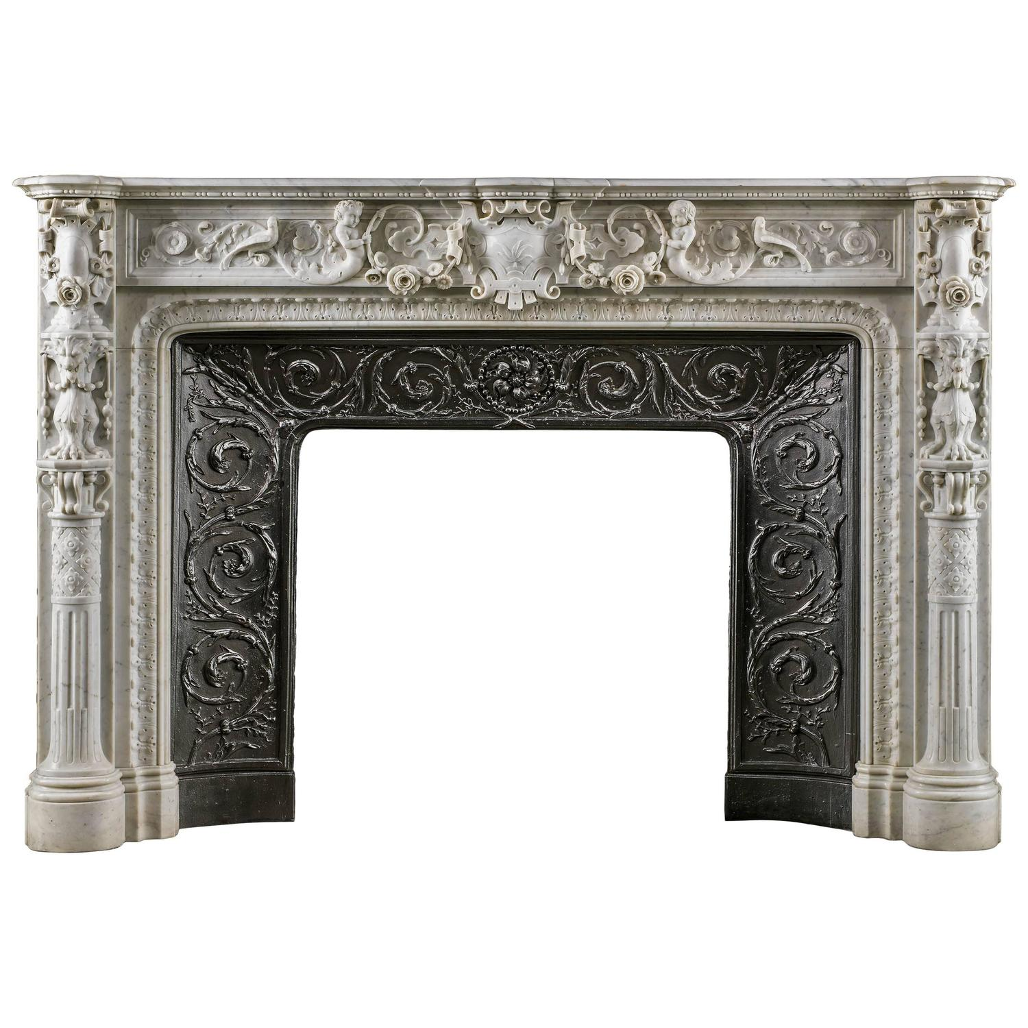 small italian renaissance style antique marble fireplace