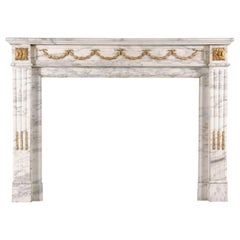 19th Century French Statuary Marble and Gilt Ormolu Antique Fireplace Mantel