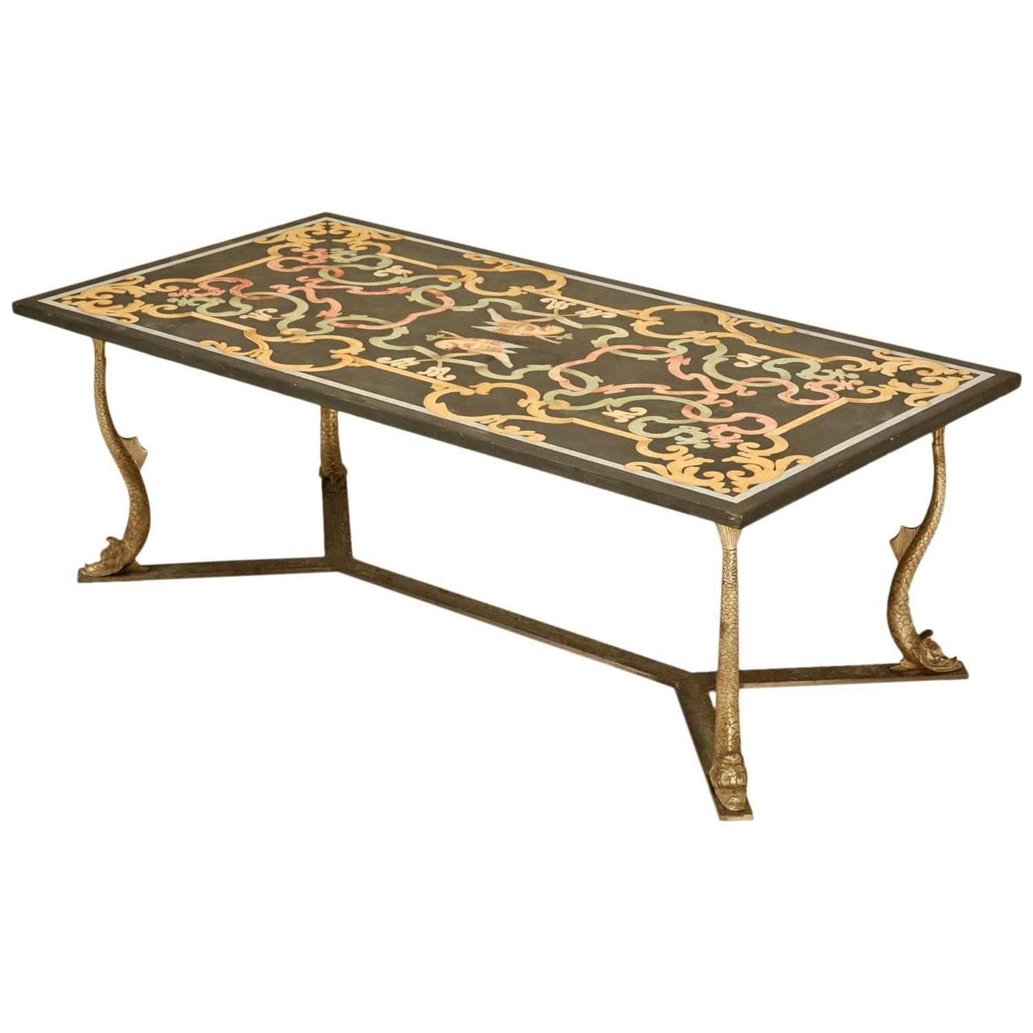 Italian marble coffee table in the style of scagliola circa 1960 at 1stdibs Tuscan style coffee table
