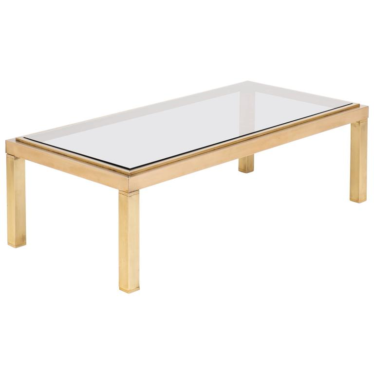 French Modernist Polished Brass Coffee Table For Sale