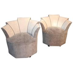 Mid Century Pair Grey Velvet French Lounge Chairs