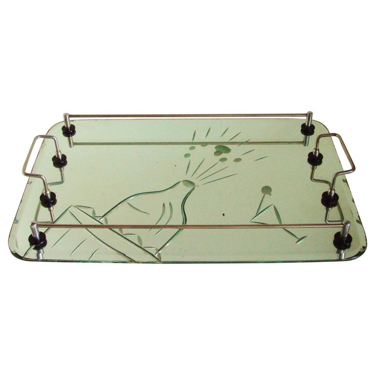 Australian Art Deco Etched and Bevelled Mirror Cocktail Tray with Chrome Gallery For Sale