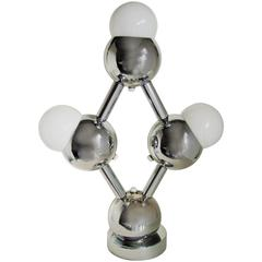 "Large American Mid-Century Modern Chrome ""Atomium"" Triple Bulb Table Lamp"