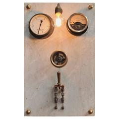 1940s French Factory Switchboard Industrial Wall Light
