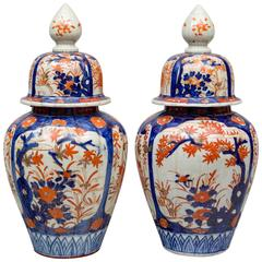 Pair of Imari Vases with Lids