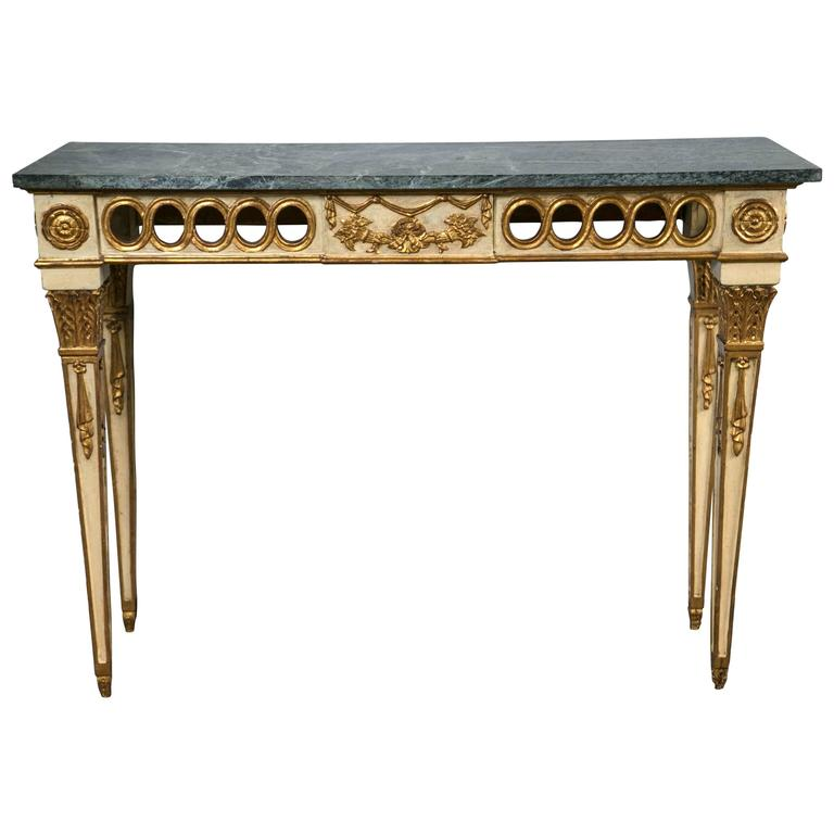 Louis XVI Style Italian Paint Decorated Marble-Top Console Style of Jansen