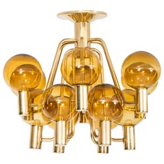 Hans-Agne Jakobsson Ceiling Lamp in Brass and Yellow Glass