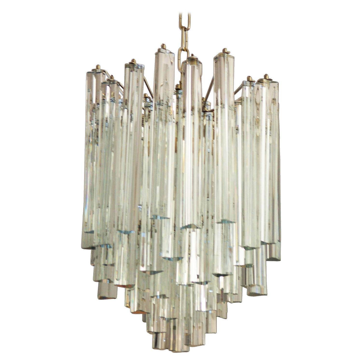 Murano Prism Chandelier: Lead Crystal Triangular Prisms Chandelier Attributed To