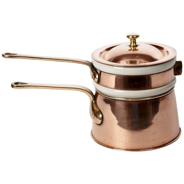 Copper And Brass Double Boiler With White Ceramic Sauce