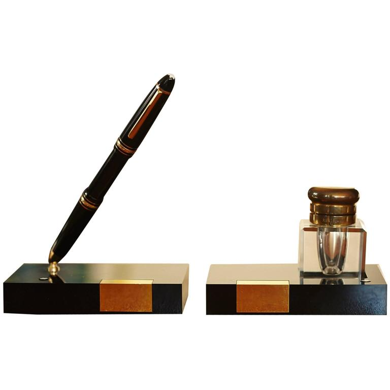 Montblanc Writing Set Fountain Pen Holder And Crystal Inkwell Circa 1960s At 1stdibs