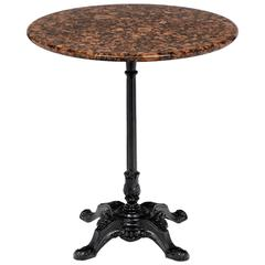 French Antique Marble-Top Bistro Table