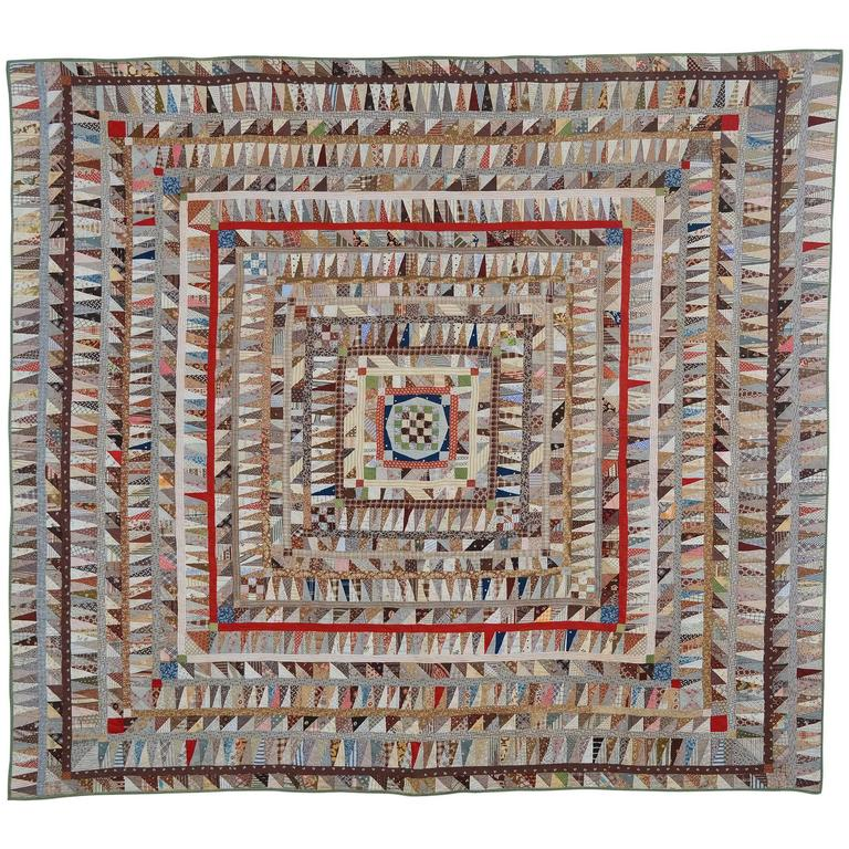 Highly Pieced Center Medallion Quilt For Sale