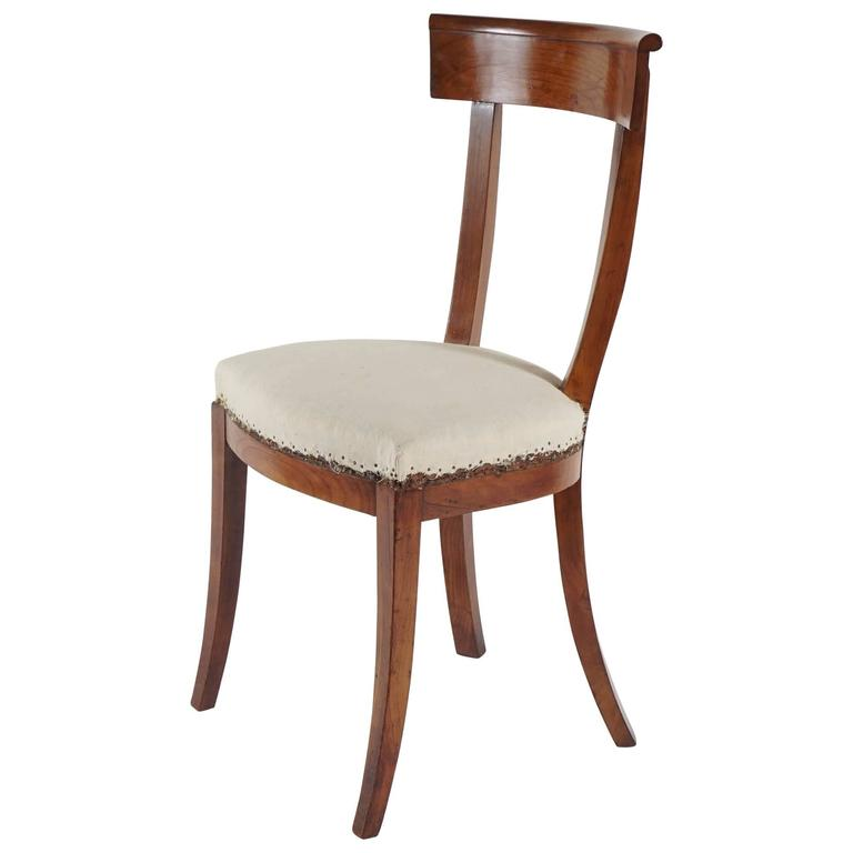 Karl Johan Biedermeier Elm Klismos Form Side Chair, Sweden, Circa 1830 For  Sale