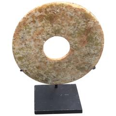Ancient China, Qi Jia Culture, Early Bronze Age, China Jade Bi Disc with Stand