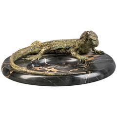 Vienna Bronze and Marble Iguana Coupe, circa 1880