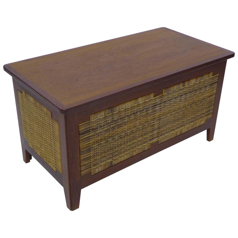 Kai Winding Ph52 Teak Cane Blanket Chest for Poul Hundevad, Denmark