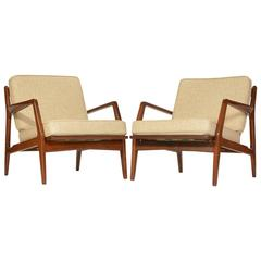 Pair of Danish Lounge Chairs by Ib Kofod-Larsen for Selig, Restored