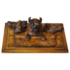 Austrian Timber Inkwell with Pug Dog
