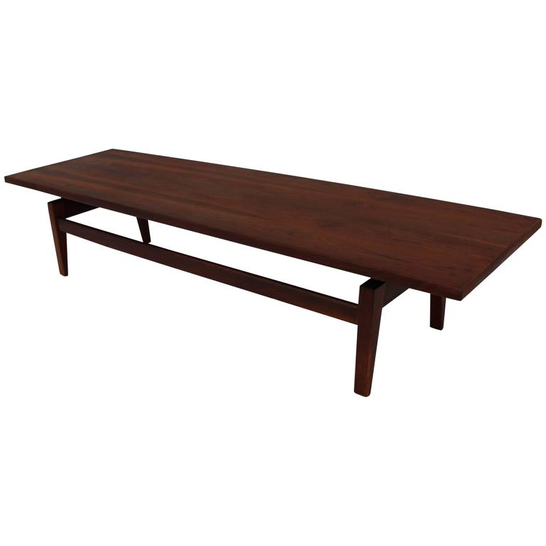 1950s Jens Risom Long Walnut Floating Coffee Table At 1stdibs