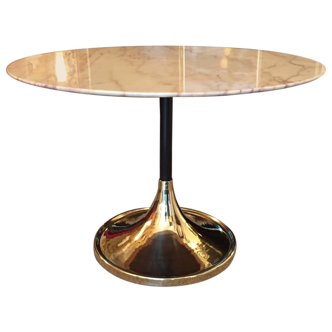 1970s Italian Tulip Base Round Marble Table At 1stdibs