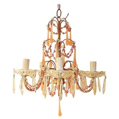 French Pink Opaline Crystal Prisms Chandelier