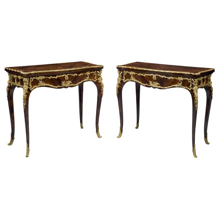 Pair Marquetry Card Tables by Joseph-Emmanuel Zwiener