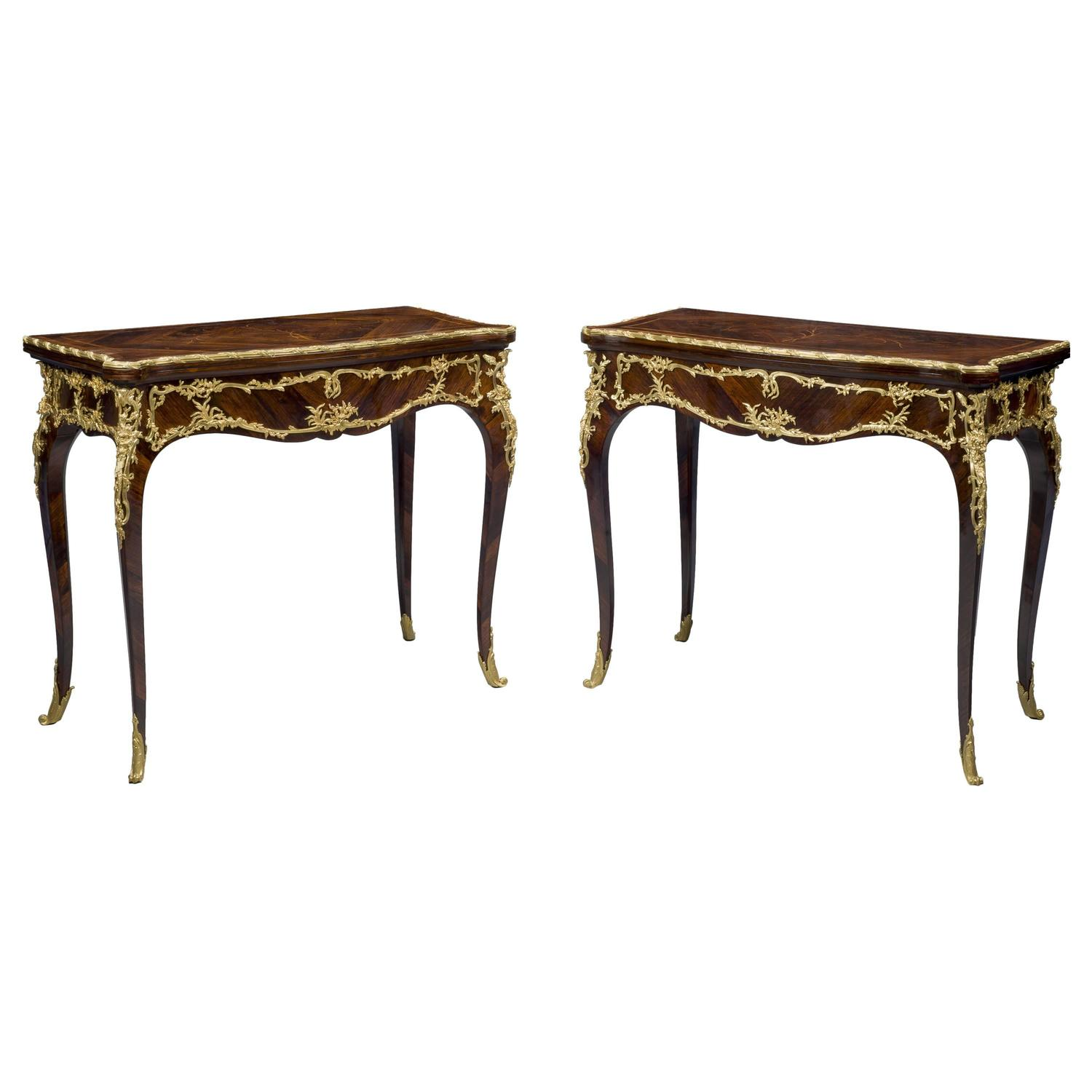 Pair Marquetry Card Tables By Joseph Emmanuel Zwiener For
