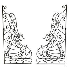Pair of Art Deco Wrought Iron Seahorse Gates