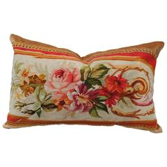 Antique French Aubusson Pillow, Late 19th Century