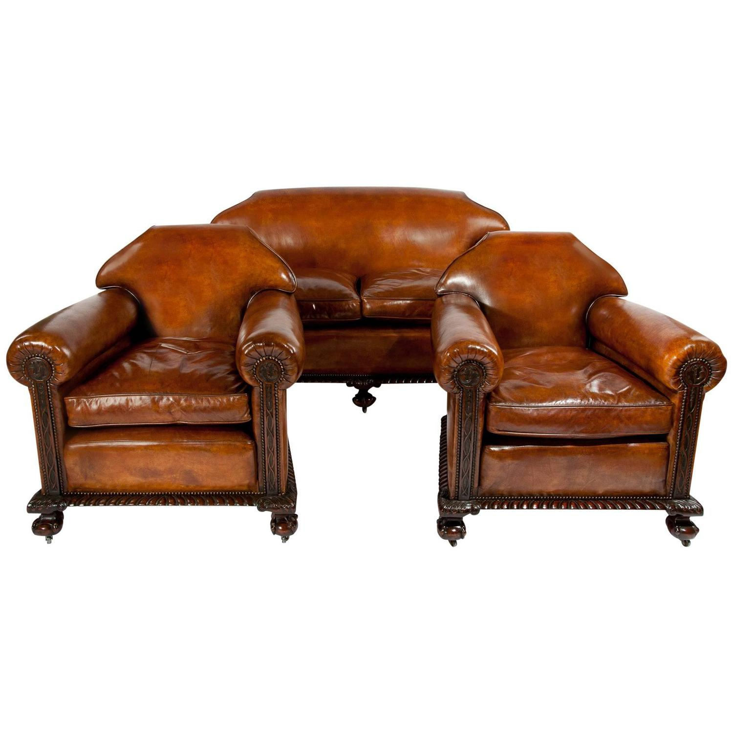 Victorian Leather Living Room Furniture: Magnificent Victorian Leather Sofa And Chairs Three-Piece