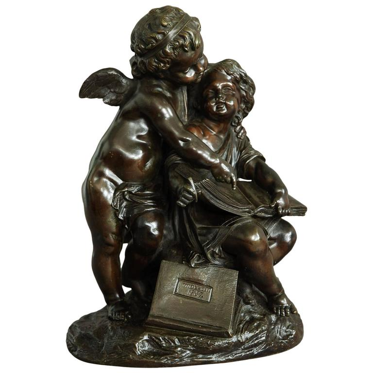 19th Century French Bronze of a Putto and Young Girl