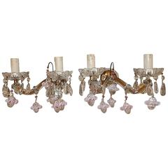 French Pink Murano Ribbon Balls Crystal Prisms Sconces