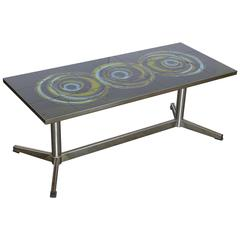 Mid-Century Modern Vallouris Handmade Tile Top, Chromed Steel Base Coffee Table
