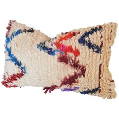 Vintage Moroccan Hand-Loomed Wool Beni Ourian Pillow, Atlas Mountains
