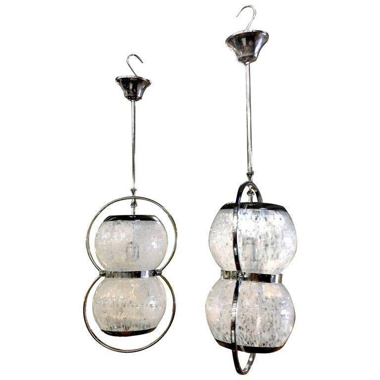 Pair of Midcentury Italian Murano Glass Pendant Lamps, 1950s-1960s For Sale