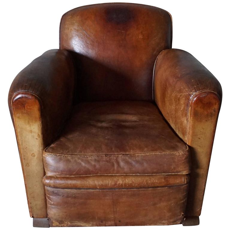 Distressed French Cognac Leather Club Chair 1930s at 1stdibs